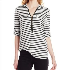 Calvin Klein Striped Zip Front Roll Sleeve Blouse
